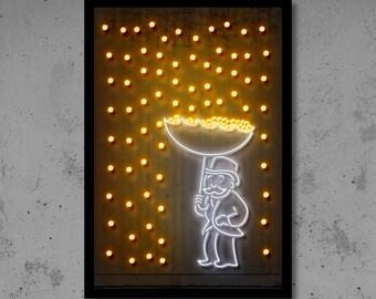 Money Rain Art Money Art Neon Art Gift for Him Man Cave Street Art Neon Print Monopoly Art Monopoly Print Home Décor Dollar Art