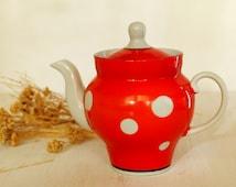Red Polka Dot Teapot Porcelain Teapot Retro Kitchen Decor Vintage Coffee Pot Kitchenware
