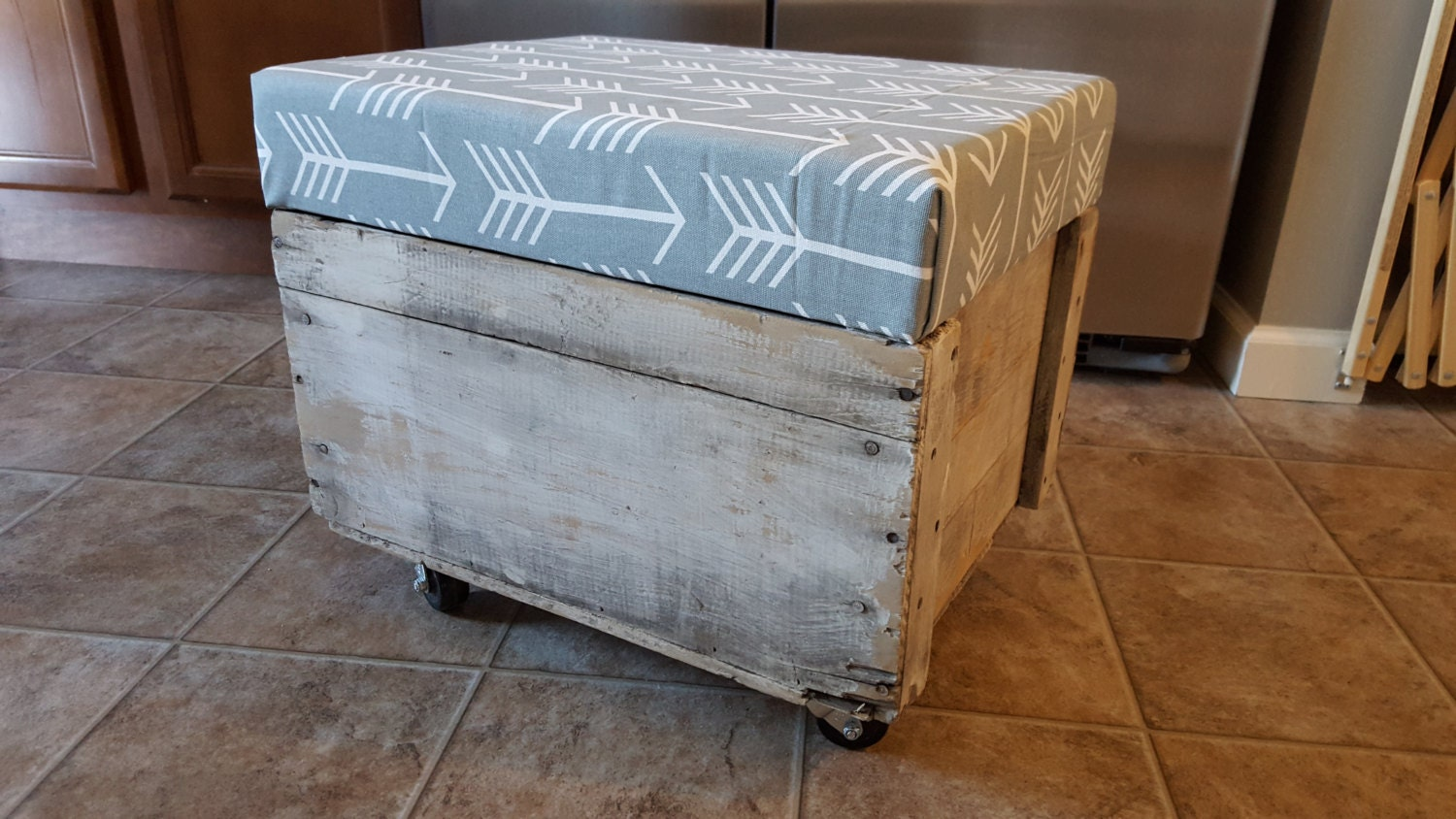 Rolling Storage Ottoman By Upcycledpallet On Etsy