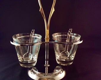 SALE - Chrome Two Bowl Serving Caddy - Kromex