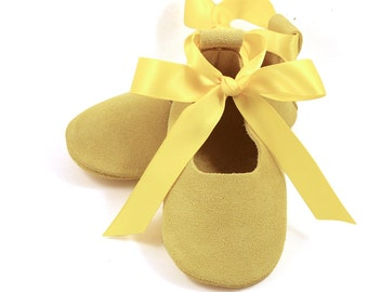 Yellow ballet flats, flower girl shoes, baby wedding shoes, baby shower gift, birthday shoes, baby and toddler girl shoes, leather shoes