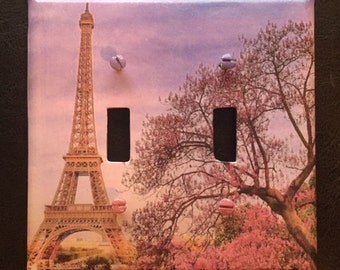 Eiffel Tower light Switch Plate cover double toggle cover of Paris tower beautiful switch plate cover decoupage for double switchplate cover
