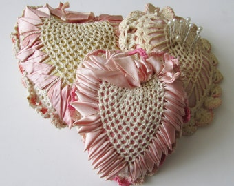 3 Vintage Crochet Heart Pincushion Pink Heart Pin Cushion