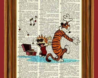 Calvin and Hobbes Upcycled Dictionary Art Print Poster