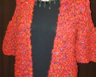 Super chunky hand knitted red cardigan size 10