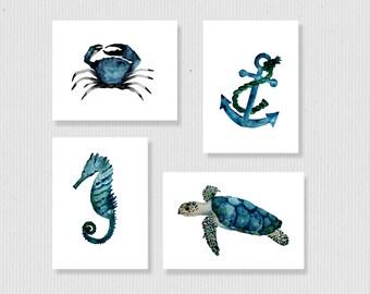 nautical print set, sea life art prints, nautical wall art, watercolor nautical art