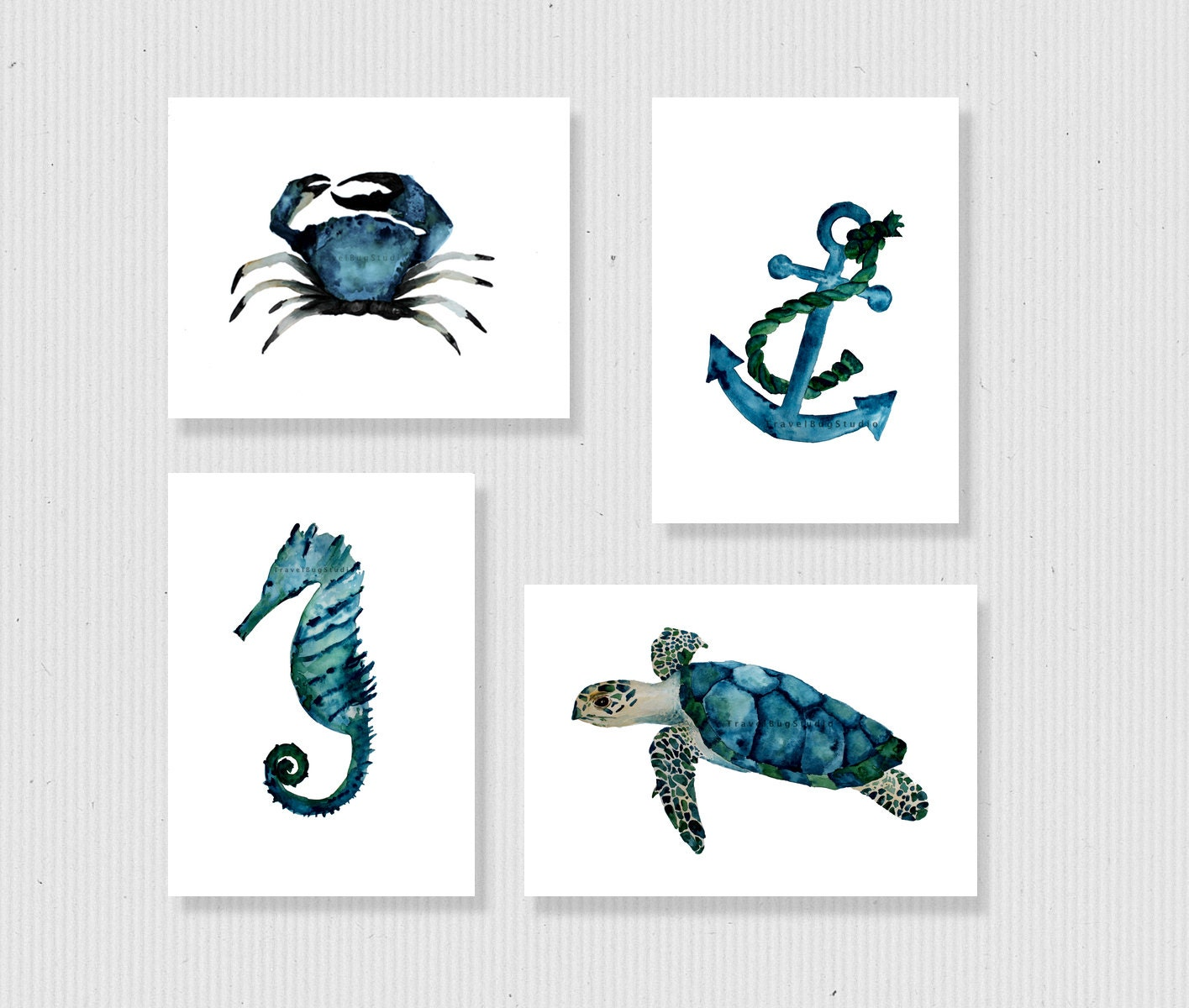 nautical print set sea life art prints nautical wall art