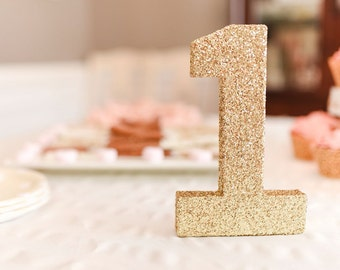 ONE, Gold Glitter Number, 1, Gold Numbers, Birthday Party Decor, Wedding Decor, Gold Paper Mâché Letters