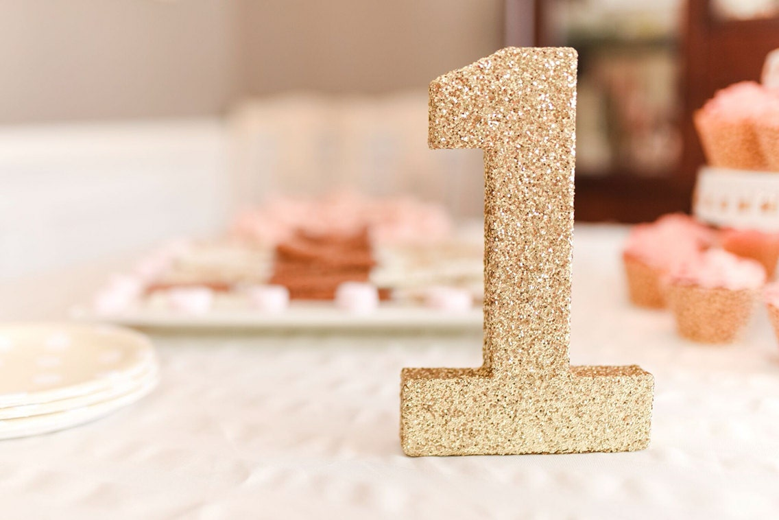 one gold glitter number 1 gold numbers birthday party decor wedding decor gold paper mch letters