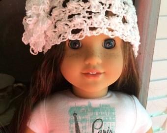 American Girl Doll Crochet White Hat