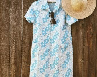 Vintage 60s Floral Mini Dress - Size M