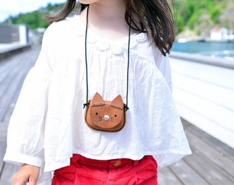 Leather pendant purse kitty cat, animal bag, children's bag, leather child's purse