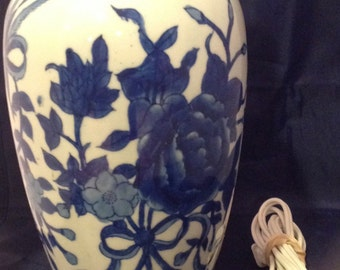 Blue and White Ceramic Floral Lamp