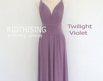 Maxi Twilight Violet Bridesmaid Dress Infinity Dress  Prom Dress Convertible Dress Wrap Dress