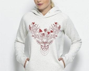 Hooded sweatshirt organic cotton fair Beau White Heather Illustration Mose