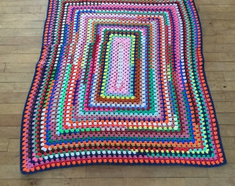 Vintage Crochet Afghan - Multicolor Afghan - Baby Afghan - Small Afghan