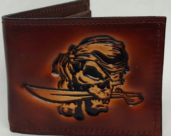 Pirate Skull Bifold or Trifold Leather Wallet B1802