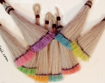 Horse hair tassel, Hand-dyed in Pastel colors perfect for horse hair jewerly, horse hair key chains, horsehair charms purse