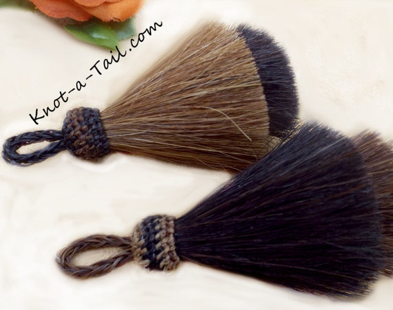 Horsehair tassel THICK Double layer Natural horse hair color