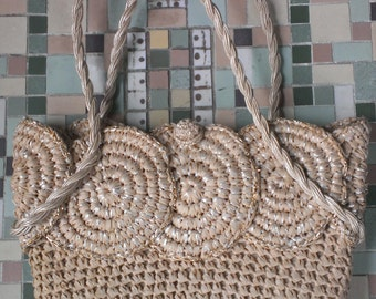 VINTAGE Japanese Straw Handbag