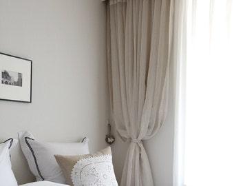 beige leinen vorhang etsy. Black Bedroom Furniture Sets. Home Design Ideas