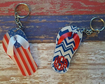Flip Flop Keychain, acrylic, patriotic, monogrammed, 4th of July, american flag, USA