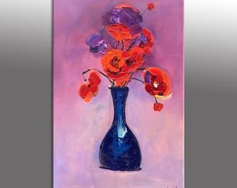 Flower Painting, Original Abstract Art, Contemporary Painting, Large Oil Painting, Large Wall Art Painting, Abstract Painting, Palette Knife