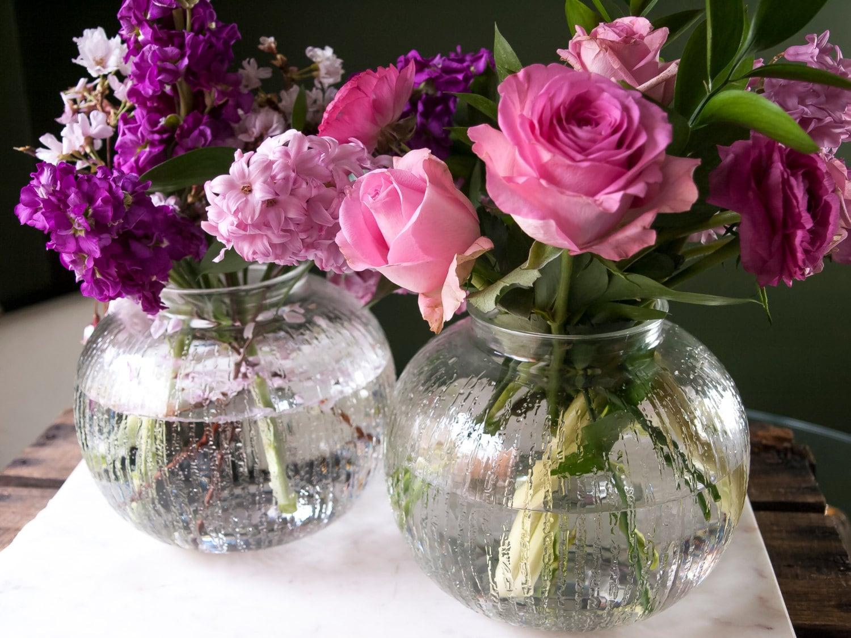 Round glass flower vase set of clear wedding