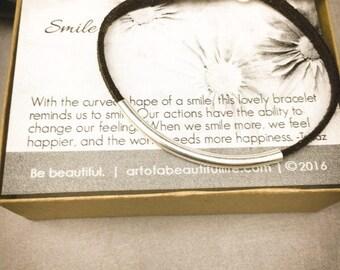 Sterling Silver Inspirational Bracelet | Happy Jewelry | Smile Jewelry | Inspirational Jewelry