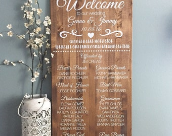 Rustic Wedding Welcome Sign / Wedding Program Sign / Alternative Wedding Party Sign / Choose A Seat Not A Side / Rustic Wood Sign Wedding