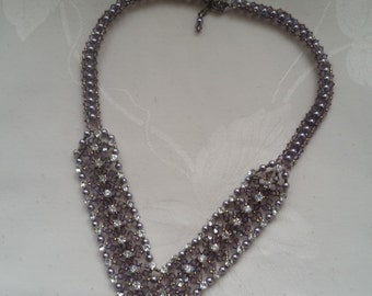 "necklace ""Florence"" Swarovski crystal purple satin"
