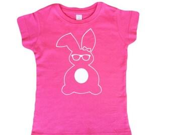 Girls Easter Shirt/ Easter bunny shirt/ Easter bunny tee/ kids easter tee/ hipster easter bunny