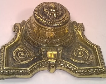 Antique Solid Brass Inkwell