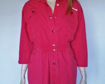Red Cotton Jumpsuit Vintage 80's