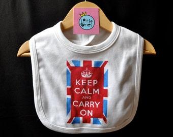 Keep Calm And Carry On Baby Bib