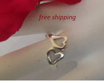 Silver heart ring; 92.5 sterling silver