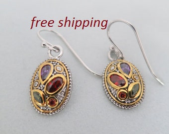 Gold multi gemstone earrings, gold plated 92.5 sterling silver