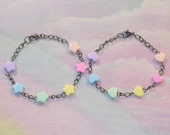 Fairy Kei Bracelet, Sweet Lolita Bracelet, Lolita Bracelet, Decora Bracelet, Rainbow, Star, Heart