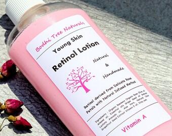8oz Retinol Lotion - Vitamin A Body Lotion - Natural Retinol - Vegan Retinol - Pink/Rose Lotion