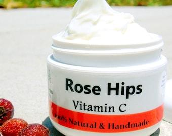 SPF30 Rose Hips+AHA - Vitamin C Face moisturizer / Rose hips cream (2oz)
