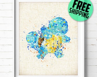 Pokémon Squirtle Watercolor Art Burlap Print, Pocket Monsters Watercolor Painting, Wall Art, Kids Decor, Home Decor, Buy 2 Get 1 Free! NA55