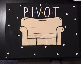 """Hand-Painted Canvas - """"PIVOT"""" Couch - Multiple Sizes FRIENDS TV Show"""