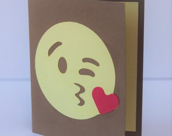 Funny/Romantic Cut Paper Greeting Cards--Kissing Emoji