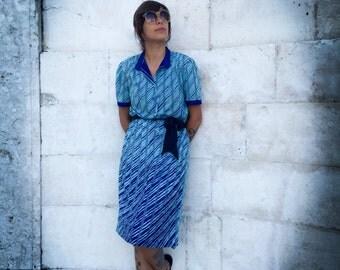 70s BLUE STRIPED DRESS