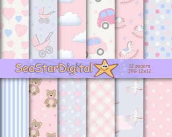 Baby shower paper,baby shower digital,pink baby paper,pink baby scrapbook,paper baby pink,paper pink baby,baby pink paper,boy shower paper