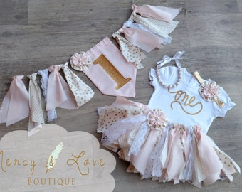 "The ""Sweet Caroline"" Fabric Tutu, Birthday Tutu, First Birthday Outfit Girl, Scrappy Tutu, Banner, High Chair Banner, Cake Smash"