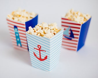 Nautical party favour boxes, sailor boys party, party paper decoration, Birthday Party Package, printables party decorations, mustache party