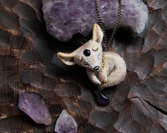 Fennec Fox Amethystium Necklace Polymer Clay Cute Pendant