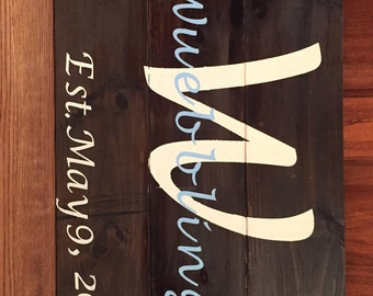 Custom Wedding Name Sign, handmade on wood