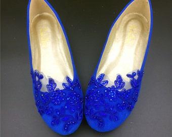 30% off Blue Vintage Wedding Shoes,Royalblue Bridal Ballet Shoes,Lace Blue Flats Shoes,Women Blue Wedding Shoes,Comfortable Bridal flats